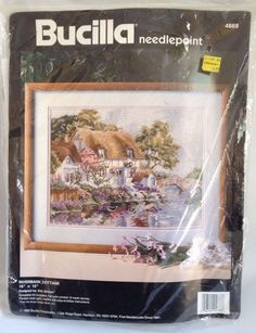 """Bucilla Riverbank Cottage Needlepoint Kit Designer Erin Dertner #4668 16"""" x 12""""  #Bucilla"""