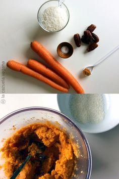Bolitas crudiveganas de zanahoria y coco. Raw food. Veggie Recipes, Baby Food Recipes, Carrot Top, Sin Gluten, Deli, Carrots, Recipies, Food And Drink, Vegetables