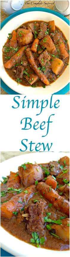 Simple Beef Stew ~ Made in the slow cooker with all the classic ingredients of beef, potatoes, and carrots. ~ The Complete Savorist