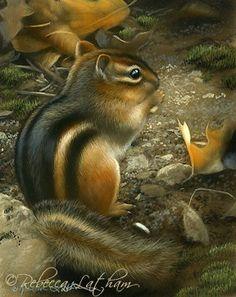 Trail Snacks - Chipmunk, 4.5in x 3.5in, watercolor on board, ©Rebecca Latham