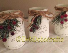 Christmas mason jar centerpieces Rustic Christmas decor Christmas decorations Farmhouse Christmas Christmas mantle decor