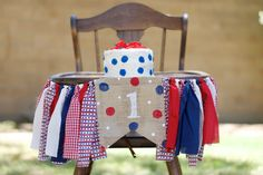 Red, White and Blue High Chair Banner Decor-High Chair Garland-First Birthday Decor-Cake Smash Decor-First Birthday High Chair Decor