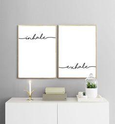 INHALE EXHALE PRINTABLES | Breath Print | Yoga Print | Black and White | Typography Wall Art | Minimalist Print