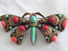 Винтаж Max neiger бабочка брошь булавка нефрита и коралл стекла Чешская арт-деко | eBay