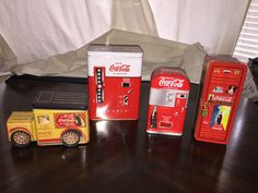 Vintage Coca-Cola Tin Lot - a Locker, a Truck and 2 Vending Machines - 4 Tins #vintage #coke