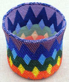 Spectral Reversible Bead Tapestry Crochet Basket for Lefties by tapestrycrochet, via Flickr