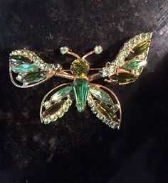Vintage Large WEISS Butterfly Trembler Brooch Pin Green Rhinestone Signed   #Weiss