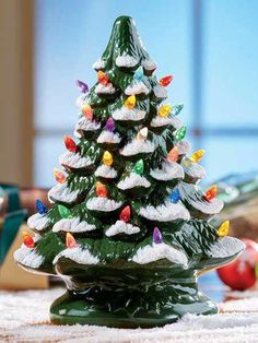 Ceramic Christmas tree with colorful plastic bulbs stands approximately 13 inches tall. This ceramic Christmas tree includes bulb inside. Types Of Christmas Trees, Ceramic Christmas Trees, Burlap Christmas, Christmas Door, Christmas Balls, Vintage Christmas, Christmas Wreaths, Christmas Ornaments, Christmas Ideas