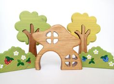 Waldorf Wooden Fairy House Toys for toddlers Woodland play set Waldorf play space Gnome House by WoodenCaterpillar on Etsy