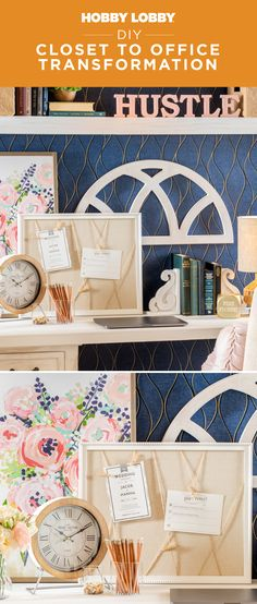 Upgrade a closet in your home into a home office today! Find instructions and more inspiration on our DIY Projects & Videos page. Diy Projects Videos, Video Tutorials, Spring Cleaning, Hobby Lobby, Getting Organized, Home Organization, Office Decor, Diy Home Decor, Diy Crafts