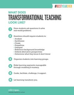 Transformational teachers create experiences in their classrooms, melding the art and science of any subject and making their students care about learning.