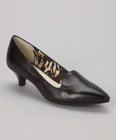 Look what I found on #zulily! Black Munroe Leather Kitten Heel #zulilyfinds
