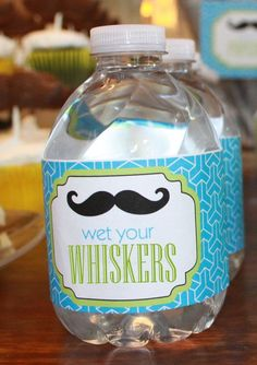 """Wet your Whiskers"" bottle labels for ""Little Man"" shower 