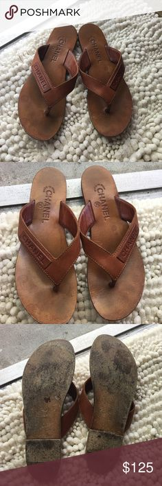 Chanel sandals Authentic. Some water damage not notice when wore. Size 7.5 but fit perfectly a size 7. Chanel Shoes Sandals