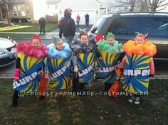 The girls wanted to do a group costume and it was difficult to find an age appropriate one! Since the girls enjoyed Slurpees they decided to do a Slur...