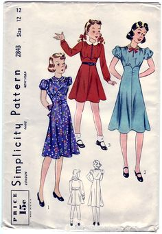 Peter Pan collar with or without ruffling. Gathers from the shoulders and above the high waistline Short puff sleeves or long sleeves gathered wot a wristband. Flared skirt joins the blouse. Sash joins in side seam and ties in the back or tailored belt may be used.  Flirty and pretty!