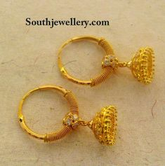Jhumkas latest jewelry designs - Page 45 of 75 - Indian Jewellery Designs Gold Earrings For Kids, Kids Earrings, Gold Bangles Design, Gold Earrings Designs, Jhumka Designs, Jewellery Designs, Real Gold Jewelry, Gold Jewelry Simple, Gold Jewellery