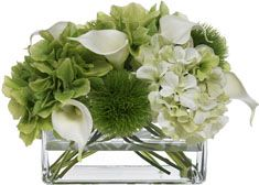 Blooms by Diane James Faux Hydrangea and Calla Lily Bouquet in Glass Rectangle Vase