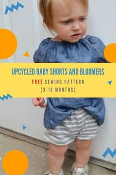 Upcycled Baby Shorts and Bloomers FREE sewing pattern (3-18 months). Upcycling/ recycling is always a great thing to do. To make a pair of these Baby Shorts and Bloomers you'll need the hem of any shirt, T-Shirt, pants, or shorts. So this pattern is all about reusing old materials. The designer loves sewing cute little clothing for babies! This post also includes an 8-minute long YouTube video from the designer showing you how to upcycle a T-Shirt into shorts for kids. Sewing Patterns For Kids, Sewing For Kids, Sewing Crafts, Sewing Projects, Free Pattern Download, Modern Kids, Love Sewing, 18 Months, Babies