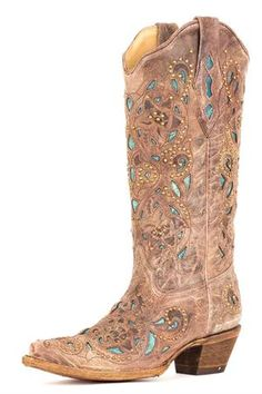 Corral Boots Women's Brown Crater & Turquoise Inlay Studded Cowgirl Boots