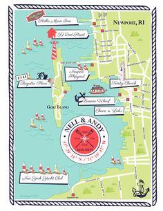 As Seen on STYLE ME PRETTY - Custom Wedding Map Nautical, Road Island Map. $180.00, via Etsy.