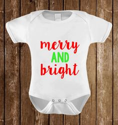 Merry and Bright Children's Clothing Baby Bodysuit Baby Clothing Christmas Birthday Baby Tee Baby Tank