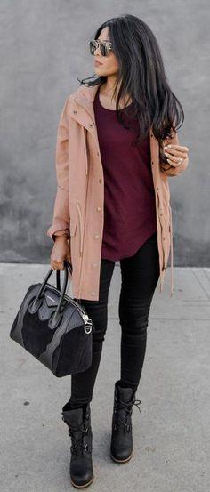 #winter #fashion /  Camel Coat / Burgundy Top / Black Skinny Jeans / Black Boots