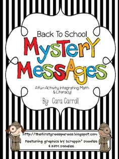 Back to School Mystery Messages by Cara Carroll @ The First Grade Parade
