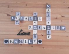 Rosalie, Scrabble Letters, Natural Wood, Hand Made, Gaming