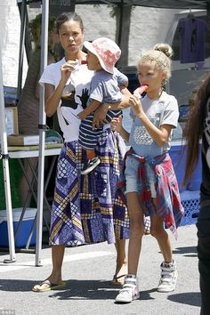 Family day: Thandie Newton, 42, was spotted enjoying a leisurely trip to her local farmer'...