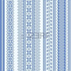 Embroidery seamless pattern nordic style in blue