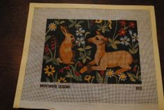 Brentwood Designs 6013 Needlepoint Canvas Rabbit Dog Renaissance Alice Peterson