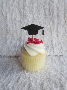 Graduation Cap Cupcake Toppers A set of 30 graduation cap toppers to celebrate your graduate. Each topper is made of card stock, toothpick and non-toxic adhesive. These are single-sided. Orders consisting of two or more items/packs will have 5-7 days processing time. Shipping