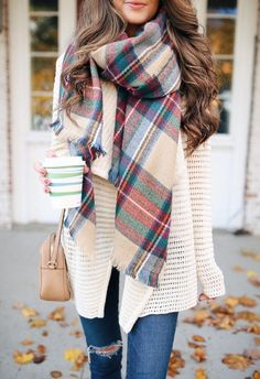 #fall #outfits Aztec Print Scarf // Cream Wool Cardigan // Destroyed Skinny Jeans // Camel Leather Shoulder Bag