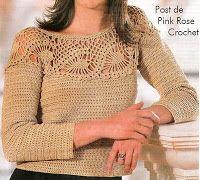 \ PINK ROSE CROCHET /: Blusa de Crochê com Decote Abacaxi - Crochet Blous...