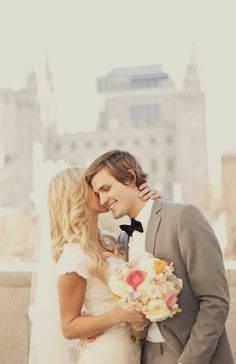 floral print, shabby chic, lace, Couple Portraits, Summer, vintage , Utah...cute! Could be better with more clarity of the Temple in the background.