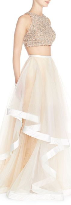 Glamour by Terani Couture Beaded Top & Organza Two-Piece Ballgown