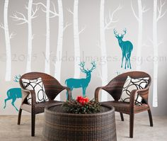 Birch trees with deer wall decal tree wall decal by ValdonImages #homedecor #rusticliving #nature #mountains #animals