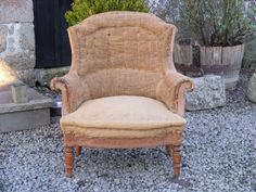 A mid to late 19th Century Arch Top Hessian chair.  Height - 86cm Width - 82cm Depth of seat - 54cm