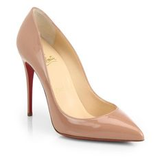 Christian Louboutin Pigalle Follies Patent Leather Pumps ($675) ❤ liked on Polyvore featuring shoes, pumps, nude, christian louboutin pumps, christian louboutin, nude shoes, patent pumps and fleece-lined shoes