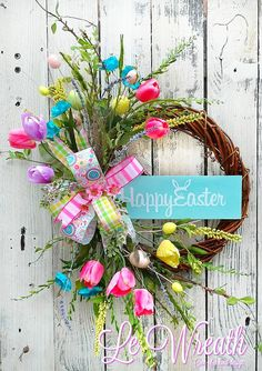 Easter Wreath Spring Wreath Easter Door Wreath Happy by LeWreath