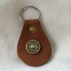 Leather Key Fob  12 Gauge Shotgun Casing by DavidsLederLaden (Accessories, Keychain, Leather, leather, key, fob, brown, shot gut, casing, 12 gauge)