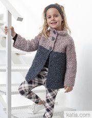 A Fil Katia design Diy Crafts Knitting, Knitting Blogs, Knitting For Kids, Baby Knitting Patterns, Crochet For Kids, Crochet Jacket, Knit Crochet, Jean Rose, Pull Bebe