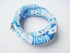 White Beaded crochet necklace blue Bead Crochet by DolgovaSvetlana, $69.00