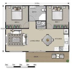 Resultado de imagen para converting a double garage into a granny flat Small House Plans, House Floor Plans, Granny Flat Plans, Garage Granny Flat, Granny Pods, Plan Chalet, 2 Bedroom House, Cottage Plan, Flat Ideas