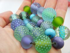 Moogin Beads- Summer polka dot bead set - 14mm-17mm - Lampwork / glass - SRA by mooginmindy on Etsy