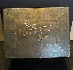 An antique ART and CRAFTS COPPER FIRESIDE BOX. HANDMADE SLIPPERS BOX