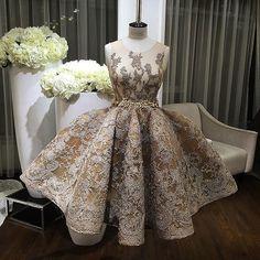 Stunning Jewel Sleeveless Knee-Length Gold Homecoming Dress with Silver…