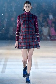 Christian Dior - Pre-Fall 2015 - Look 32 of 64 ** plaid with charcoal, scarlett, and burgundy**  love the contrast!
