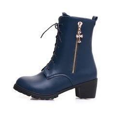 Women's Solid Blend Materials Kitten Heels Round Closed Toe Zipper Boots Blue 39